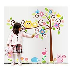 Wandaufkleber Wandtattoo, Stil Karikatureule glücklicher Baum PVC-Wandaufkleber
