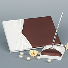 Elegant Wedding Guest Book With Ribbon Bow Sign In Book