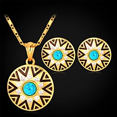 U7® Turquoise Stone 18K Real Gold Plated Rhinestone Circular Stud Earrings Pendant Necklace Fashion Jewelry Set