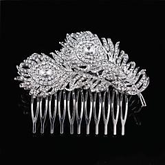 Mulheres Menina das Flores Penas Prata de Lei Liga Capacete-Casamento Ocasião Especial Pentes de Cabelo Flores