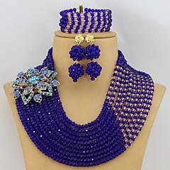 Royal Blue African Beads Jewelry Set Fashion Rhinestone Flower Nigerian Wedding Beads Jewelry Set