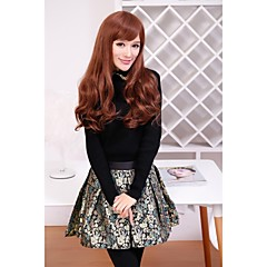 Beautiful Fashion Long Synthetic Brown Wig Loose Wave Full Bang Wigs