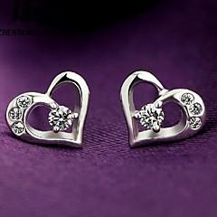 Cute Heart-shaped Women's Sterling Silver Stud Earrings With Cubic Zirconia