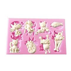 Mini-Cartoon-Tier-Katze Fischform Silikonform für Kuchendekorations Schokolade Kunst&Kunsthandwerk