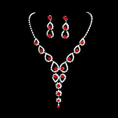 Beautiful Alloy Wedding/Party Jewelry Set With Rhinestone Red