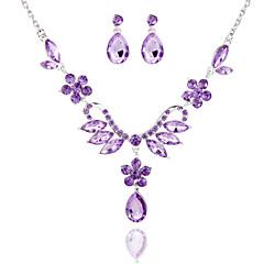 Ladies'/Women's Alloy Wedding/Party Jewelry Set With Rhinestone Purple