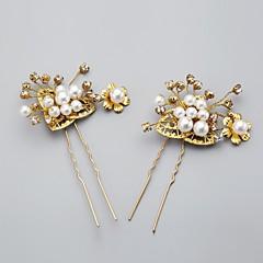 Femme / Jeune bouquetière Alliage / Imitation de perle Casque-Mariage / Occasion spéciale / Décontracté Epingle à Cheveux Or