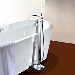 Kortárs Padlóra szerelhető Kézi zuhanyzót tartalmaz / Állvány with  Kerámiaszelep Egy fogantyú egy lyukkal for  Króm , Zuhany csaptelep /