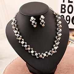 Takı Seti Kadın's Yıldönümü / Düğün / Nişan / Parti / Özel Anlar Mücevher Setleri İmitasyon İnci İnci Kolyeler / Kolczyki Gümüş