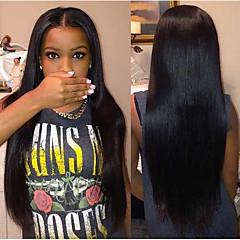 uusi saapumista 100% jalostamattomia brazilianhuman hiukset 12-28inch silkkinen suora luonnon musta täynnä pitsiä peruukki