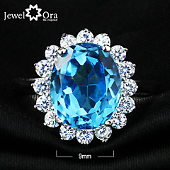 Top Nobile Fine Party Jewelry Natural Topaz Blue stone Ring 925 Sterling Silver Rings For Women