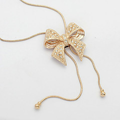 Women's European Style Fashion Noble Diamond Bow Sweater Chain Necklace