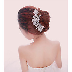 Women White Pearl Flower Hairpins Hair Sticker