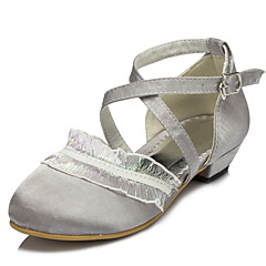Girls' Shoes Wedding/Party & Evening Round Toe Satin Pumps/Heels Gray