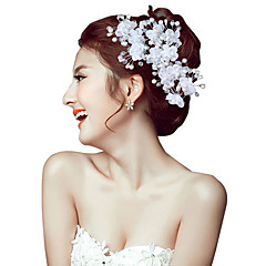 Vrouwen Parel Kristallen Licht Metaal Helm-Bruiloft Speciale gelegenheden Buiten Hoofdbanden Bloemen Haarspeld 2-delig