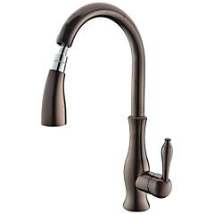 Traditioneel Pull-out / pull-down Inbouw Met uitneembare spray with  Keramische ventiel Single Handle Een Hole for  Olie-Gewreven Brons ,