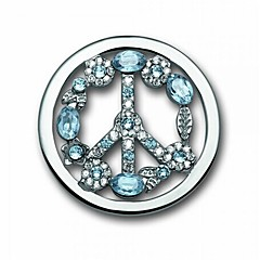 Valentine Day Gift 33mm Alloy Mi Moneda Silver Plated Blue Crystal Peace Sign Coin for 35mm Holder Pendant