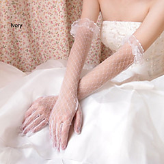 Wrist Length Fingertips Glove Net Bridal Gloves Spring / Summer / Fall White / Ivory