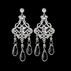 Vintage Women's Round Earrings Diamond Long Silver Earring For Wedding Bridal