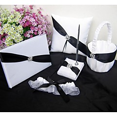 Black Satin Ribbon Uest Book Set,Ring Pillow, Flower Girl Basket, Garter(Set 5)