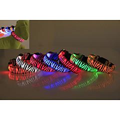 Hunde Krave Vanntett / LED Lys / Zebra Rød / Hvid / Grøn / Blå / Pink / Gul / Orange Nylon