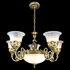 bronzen kroonluchters zeven lichten Moire-glas europese retro klassieke 220v