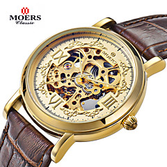 MOERS Men's Dress Watch Hollow Engraving Automatic self-winding Leather Band Black Brown