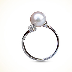 Lady's Ring Exquisite Silver Pearl Rhinestone Rings