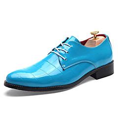 옥스퍼드 남자 신발 웨딩 / 사무실 & 커리어 / 파티/이브닝 에나멜 가죽 / 레더렛 블랙 / 블루 / 레드