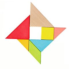 7-teilig Farbe Holz-Puzzle Tangram Set Kinder Gehirn Teaser Spielzeug-Geschenk-Set