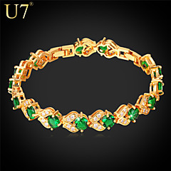 U7® Women's Fashion Cubic Zirconia Jewelry Gift Platinum/18K Real Gold Plated Shiny Green Zircons Tennis Bracelets