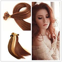 """18 """"-28"""" 50g / lot 1g / strand indiskt jungfru hår fusion hårförlängning platt spets hårförlängning"""