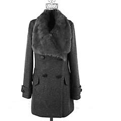 Vintage / Informell / Party / Business Bubikragen - Langarm - FRAUEN - Mäntel & Jacken ( Tweed / Gemischte Wolle )