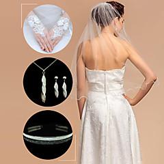 Wedding Accessories Set(Veil & Gloves & Headdress & Necklace & Earrings)