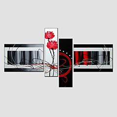 Hånd-malede AbstraktModerne / Europæisk Stil Fire Paneler Canvas Hang-Painted Oliemaleri For Hjem Dekoration