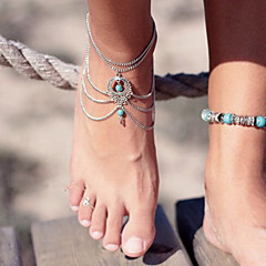 Women's Anklet/Bracelet Turquoise Unique Design Fashion Vintage Sexy Bikini Multi Layer Drop Jewelry Jewelry For Party Birthday Gift Beach