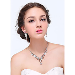 Women's Silver Alloy Rhinestone Cubic Zirconia Jewelry Set