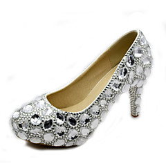 """Leather 3.35"""" Heels,  Silver Crystals Pumps/Heels Wedding/Party & Evening/Dress White"""