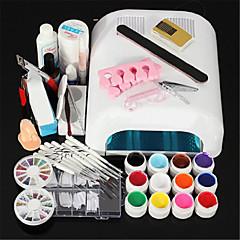 New Pro 36W UV GEL White Lamp & 12 Color UV Gel Nail Art Tools Sets