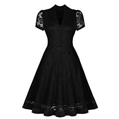 Damen Kleid - Swing Retro Solide Knielang Polyester V-Ausschnitt