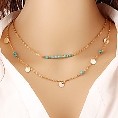 Wholesale Women Necklace European Style Round Charm  Turquoise Layered Chain Necklace