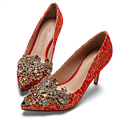 Diamond wedding shoes red shoes female China Tradational wedding bride pointed shoes embroidered couple's shoes