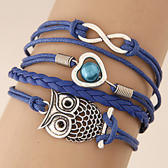 Women's European Style Fashion Retro Owl 8 Infinite Love Multilayer Charm Bracelet