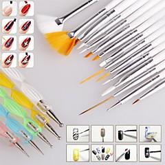 1set neglebørste nail art design maleri punktere detaljering penn børster pakke verktøysett satt spiker styling verktøy (20pcs / set)