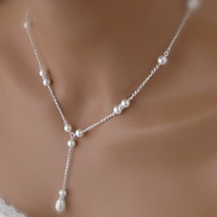 Drop pearl necklace tassel clavicle