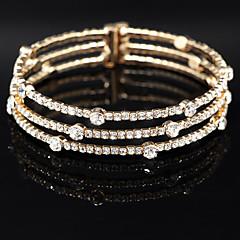 Women's 18k Golden Silver Multilayer Elastic Bangle Bracelet with Crystal for Wedding Party