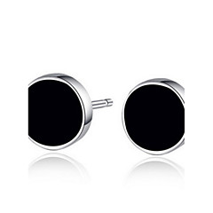 S925 Fine Silver Black Round Stud Earrings for Men