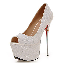 Women's Wedding Shoes Heels / Peep Toe Sandals Wedding / Dress Black / White / Silver / Gold