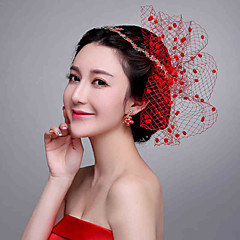 Red Stars Rhinestone / Net Headpiece - Wedding / Special Occasion Headbands / Flowers