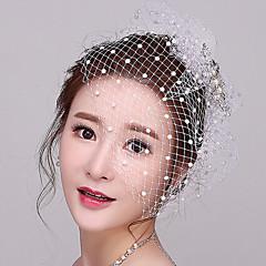 Dame Rhinestone / Imitert Perle / Nett Headpiece-Bryllup / Spesiell Leilighet fascinators / Fuglebur Slør 1 Deler
